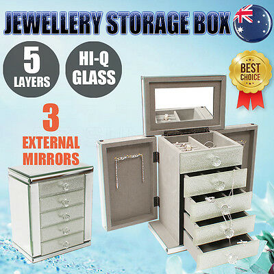 Glass Jewellery Gift Storage Box Case 5 Layers Ring Organizer Silver 3 Mirrors