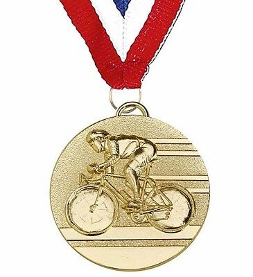 CYCLING MEDAL COINED MEDAL & RIBBON 50mm METAL MEDAL IN GOLD SILVER or BRONZE