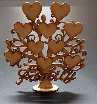 Family Tree Set Free Stand Wooden Laser Cut Craft Blank Shape Guestbook S216