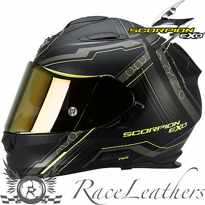 Scorpion Exo 510 Sync Black Yellow Full Face Motorcycle Motorbike Bike Helmet