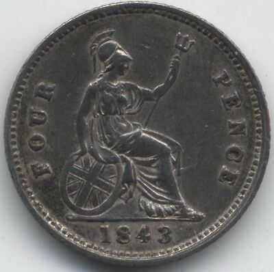 1843 Victoria Silver Fourpence/Groat***Collectors***