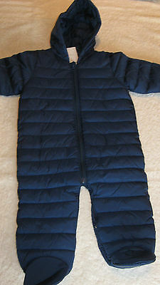 Next 6-9 months BLUE PRAMSUIT with MITTS *BNWT* Hooded Snowsuit Baby Boys New