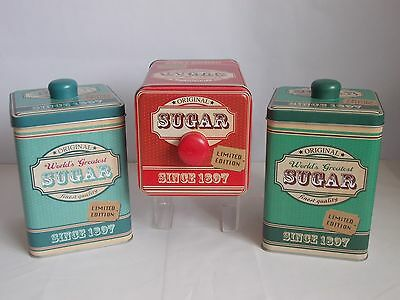 Sugar Tin Storage Caddy Canister Square With Handled Lid 3 Colour Options