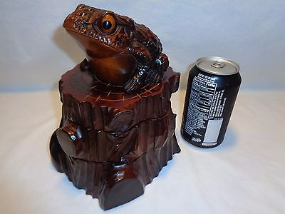 Vtg Wood Toad Frog Ashtray Box Sculpture Mid Century Asian Modern Cryptomeria
