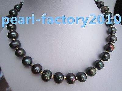 "new 18"" 13-12 MM AAA SOUTH SEA NATURAL black  PEARL NECKLACE 14K GOLD  CLASP"