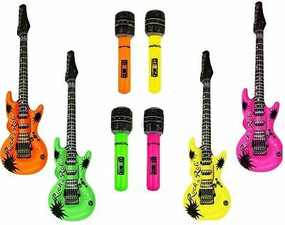 4 x Inflatable Guitar 4x MIcrophone Music Instrument Rockstar Fancy Dress Party