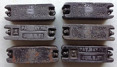 6  #1 WICKERSHAM 3-disc cam letterpress Quoins old printing equipment 2 inches