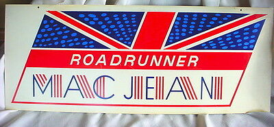 Vintage Advertising STORE Sign MAC JEAN ROADRUNNER Plexi Plastic 2 Sided CLOTHES