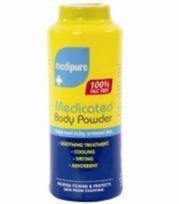 ** 2 X MEDIPURE MEDICATED BODY POWDER 100% TALC FREE 200g SOOTHING TREATMENT