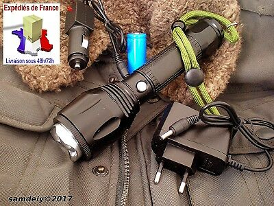 LAMPE DE POCHE TORCHE LED RECHARGEABLE ALU T6061 AVIATION+2iéme BATTERIE OFFERTE