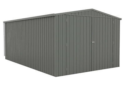 ABSCO SINGLE GARAGE 3.5m x 5.5m DOUBLE BARN DOORS Sheds Colorbond WOODLAND GREY