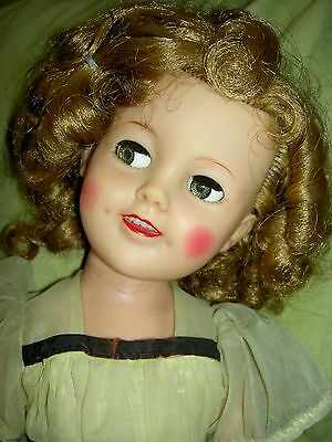 "Gorgeous 17"" sgnd. & tagged Ideal, 1957 vinyl SHIRLEY TEMPLE doll FLIRTY EYES"