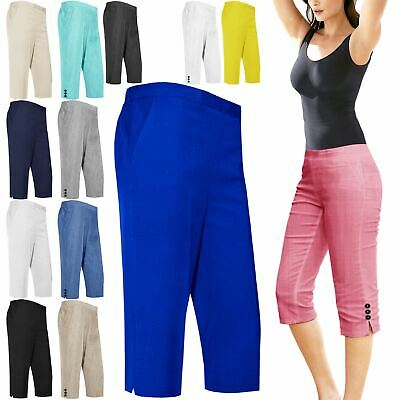 New Womens Ladies 3/4 Shorts Half Elasticated Cropped Capri Trousers Girls Pants