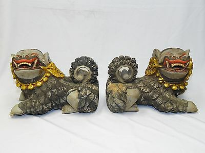 """PAIR ANTIQUE LATE 19 c. QING CHINESE DEEPLY CARVED POLYCHROME WOOD FOO DOG 19"""""""