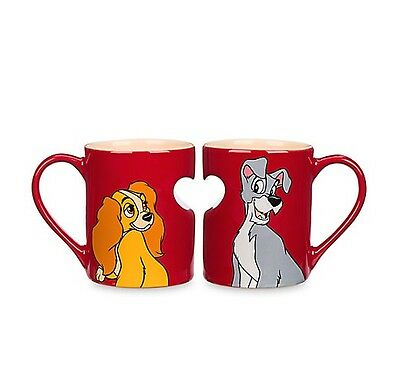 Disney Parks Lady and the Tramp Heart Mug Set Duo Valentine's Day Gift NEW