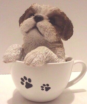 Tea Cup Shih Tzu Puppy Dog- Life Like Figurine Statue Home/Garden NEW SERIES