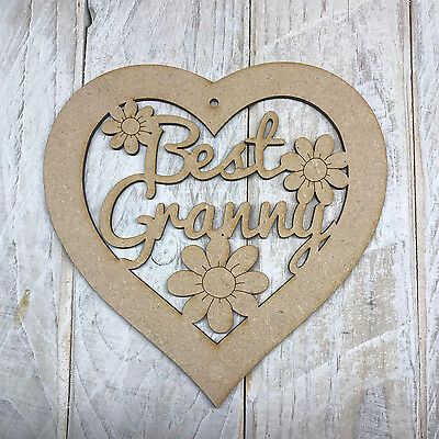 MDF Wooden Mothers Day Best Granny Heart Plaque Sign