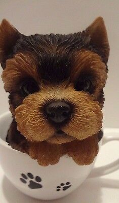 Tea Cup Yorkshire Terrier Puppy Dog - Life Like Figurine Statue Home/Garden NEW