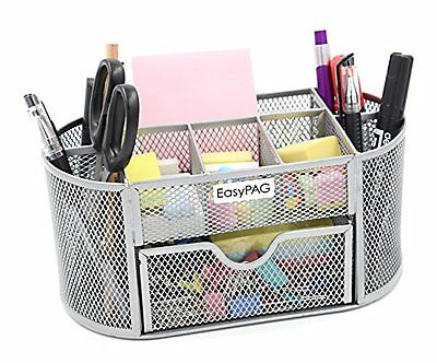 EasyPAG Mesh Desk Organizer 9 Components Office Supply Caddy with Drawer S...NEW