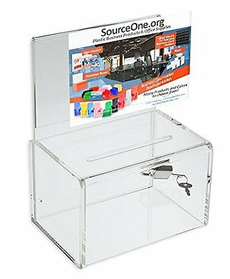 Source One Ultra-Mini Small clear Donation Box 4 inch wide...NEW