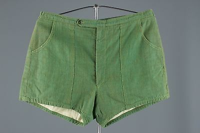 Vtg 50s Men's Flecked Cotton Swim Trunks Shorts sz S/M Swimming Suit #1039