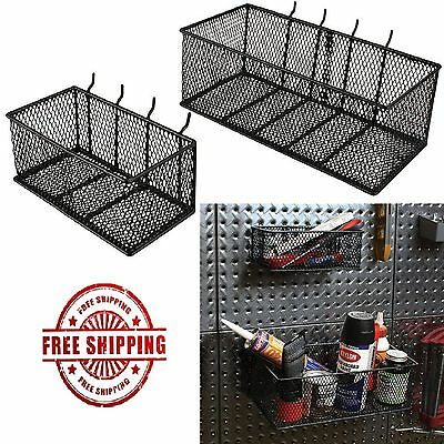Garage Wall Organizer Pegboard Storage Tool Box Shelf Baskets Steel Mesh 2 PACK