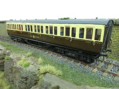 "7mm FINESCALE O GAUGE KIT BUILT GW CHOCOLATE AND CREAM 1ST/3RD CLASS COACH ""890"""