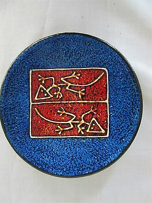 Tatiana Bodden Formato signed, red clay wall plaque - Lizard pattern