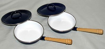 2 Vintage Ikea Childrens Toy Frying Pans Blue Enamel Covers Wood Handles Sweden
