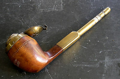 RARE TRAVELING FIGURAL PIPE INKWELL INKPOT DIP PEN VICTORIAN ANTIQUE wood