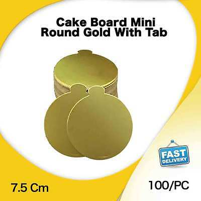 Cake Board Mini Round Gold With Tab 100/Pc 7.5 Cm Cupcake Boxes Cake Boxes