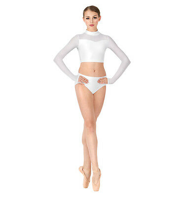 Double platinum Adult size small white crop midriff dancewear  top item #N7338