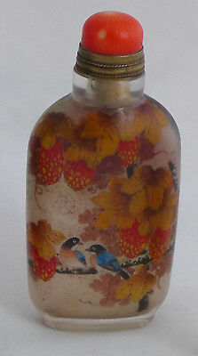 Antique SIGNED Chinese Glass Snuff Bottle Bluebirds , Swifts , Red Berries QING