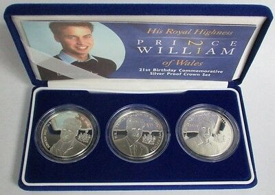 2003 Silver Prince William 21St Birthday 3 Coin Proof Set