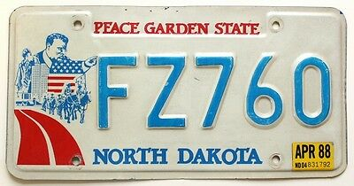 North Dakota 1988 License Plate FZ760 with US President Teddy Roosevelt Graphic