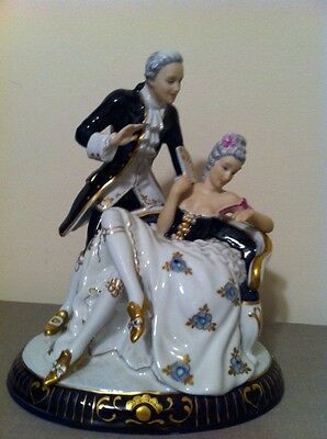 "Royal Dux Rococo Cobalt Blue & Gold Courting Couple, signed Konigova 10.5"" Tall"