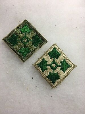 Lot Of 2 US Army 4th Infantry Division Patch Variations Tan And Green