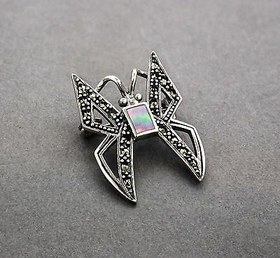Art Deco style sterling silver marcasite abalone butterfly statement brooch/pin