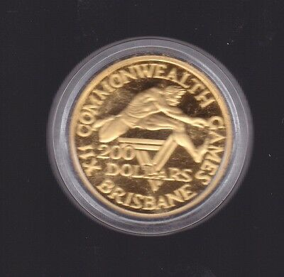 1982 Australian XIII Commonwealth Games Brisbane Gold PROOF $200 Coin