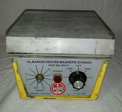 """NL Baroid Combined Hot Plate Magnetic Stirrer 6"""" x 6""""  Magnetic Hot Plate 952-51"""