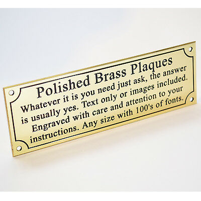 """Engraved Solid Polished Brass 8""""x2"""" Plaque Plate Sign Bench Memorial Pet +Screws"""