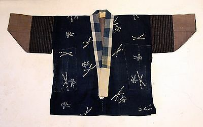 Japanese Antiques-Stylish Shibori Reversible Boro Hanten from 19th century