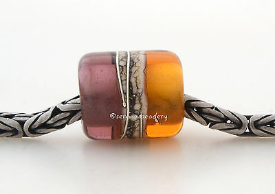 Lampwork Glass Bead LIGHT AMBER and AMETHYST BEACH European Charm Tube