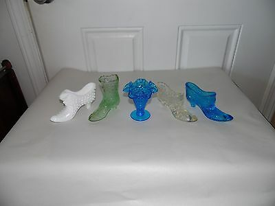 Lot Of 4 - Vintage - Fenton Art Glass Shoes Boots Slippers