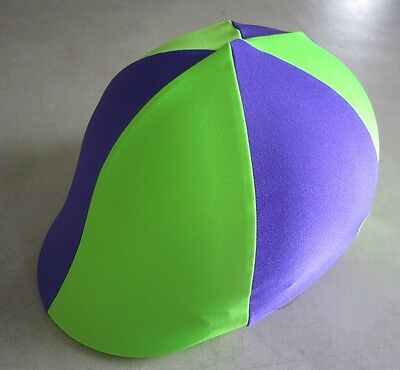 Horse Helmet Cover ALL AUSTRALIAN MADE Lime green & Purple Any size you need