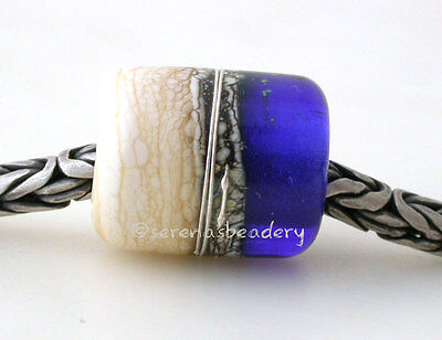 COBALT BLUE IVORY Beach Lampwork Glass Bead European Charm Tube Silvered Ivory