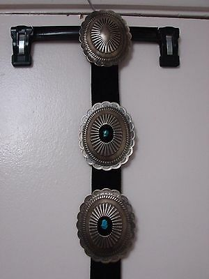 Nickel silver large concho belt Navajo? artisan signed