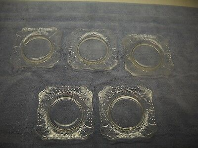 SET OF 5 Etched GLASS Square DESSERT Plates Round CENTERS Scalloped CORNERS