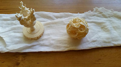 Bovine Bone carved  Puzzle ball and stand