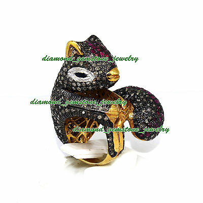 Squirrel 3.50ct ROSE CUT DIAMOND RUBY VICTORIAN WEDDING 925 STERLING SILVER RING